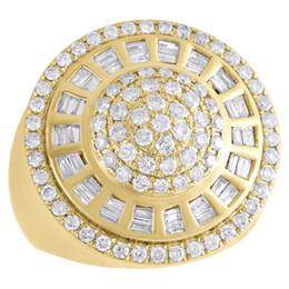 Wholesale Baguette Diamond Rings - 14K Yellow Gold Baguette Diamond Medallion Circle Cluster Pinky Ring 1.82 CT.