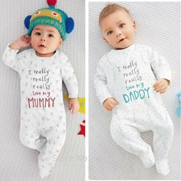 Wholesale I Baby - 2017 Autumn New baby clothing set Long Sleeve Letter I Love Mom I Love Dad Romper Newborn baby Boy Girl clothes