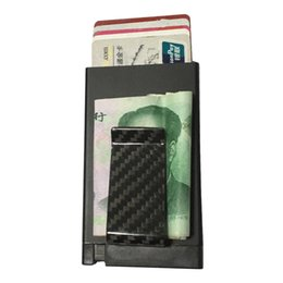 Wholesale Gift Card Holder Metal - Best christmas gift for men metal case aluminium card holder card protector mini wallet with carbon fiber money clip