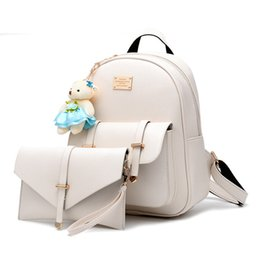 Wholesale Black Book Bag Purse - PU Women Backpack Leather big girl student book bag with purse 2pcs set bag high quality ladies school bags for teenager