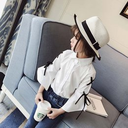 Wholesale Girls White Long Sleeve Blouse - Wholesale White Fashion Girls Tops Blouses bow Girls Shirts Children Long Sleeve T Shirts best kids Tops Children Clothes Toddler wear A958