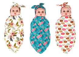 Wholesale flower bedding - 2017 European 9 style baby flower swaddle wrap blanket wraps blankets nursery bedding towelling infant wrapped towels with Floral headband