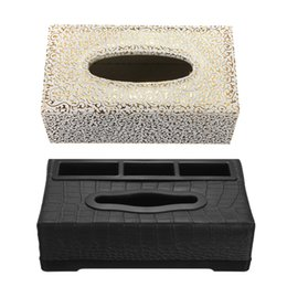 Wholesale Hotel Tissue - Wholesale-1PCS Wholesale Portable Leather Black Rectangular Tissue Box Pumping Paper Hotel Home Car Gift Car Supplies