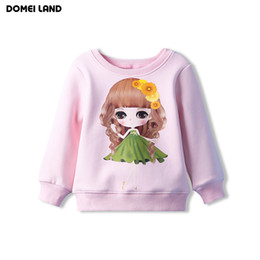 Wholesale Korean Long Sleeves For Girls - Wholesale- 2016 fashion brand korean Children's clothes for pink print cute cartton Floral girl long sleeve fleece sweat shirt clothing