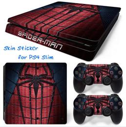 Cool Spider-man Style Vinyl Skin Sticker Protector PVC calcomanías para Sony PS4 Slim piel de la consola + 2 PCS cubierta del controlador calcomanía piel pegatinas desde fabricantes