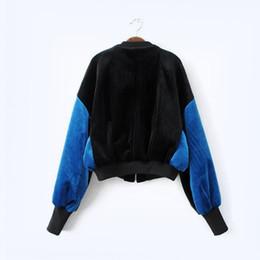 Wholesale Women S Velvet Jacket Coat - New Arrival 2017 Autumn and Winter Women's Jackets Batwing Sleeve Loose Velvet Female Coat Contrast Color Baseball Jacket Casaco Feminino