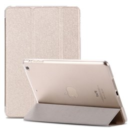 Wholesale Luxury Slim Ipad Cover - Wholesale-Smart Wake Luxury Clear Silk Leather Case For ipad mini 2 3 Air 5 Stand Function Cover Pouch Deluxe Ultra thin Slim Transparent