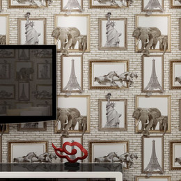 Wholesale Eiffel Tower Backgrounds - American village explosion wing 3D photo frames elephant Eiffel Tower brick pattern wallpaper background wallpaper