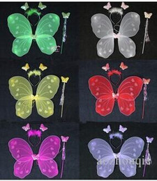 Wholesale Wholesale Fairy Wands - Wholesale Free Shipping Birthday party Decoration butterfly wing set wing headband fairy wand Angel wing Party accessories