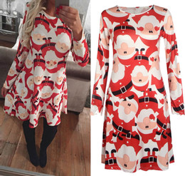 451ab9dbbf3 2017 Winter Autumn Christmas Dress Women Long Sleeve Christmas Costumes  Santa Deer Printed Dresses Women Xmas Party Clothes 5XL size 2211 discount  women s ...