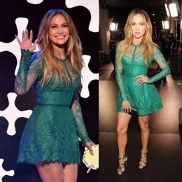 Wholesale Lopez Long Sleeve - Jennifer Lopez Red Carpet Dress 2017 Fashionable A Line Lace Appliques Long Sleeve Green Short Cocktail Homecoming Dresses BA6745