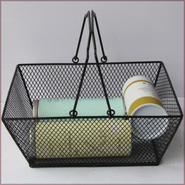 Wholesale Wholesale Wire Baskets - New shopping baskets for cosmetics ,powder coated bastket for Cosmetics store Wire Mesh Basket With Metal Handles N.W.:0.5kg