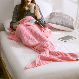 Wholesale Casual Bag Crochet - Brand New Mermaid Tail blanket adult throw bed Wrap super soft sleeping bag Casual handmade crochet mermaid blanket