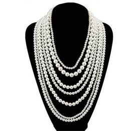 Wholesale Pearl Necklace Multi - 2017 Hot sale womens long multi layer pearl necklaces vintage round white pearls necklace beaded jewelry 1 piece drop shipping