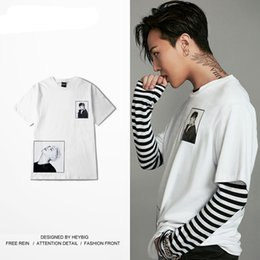 Wholesale Men S Shirt Tattoo - Tattoo Men Printed Tee Korean Fashion GD HIP HOP Rapper shirts White T-shirts Short-sleeve HEYBIG streetwear Chinese SIZING