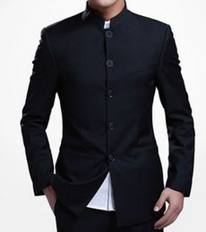 Wholesale Chinese Custom Suits - Wholesale- Top Selling custom made Casual popular Chinese Style stand lapel white black suit The blouse and trousers