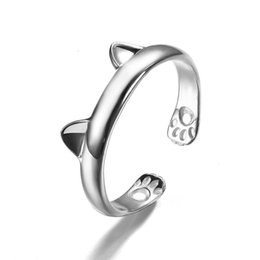 Wholesale Indian Bears - Midi Finger Boho Silver Plated Kitty Cat Ear Ring Cute Tiny Bear Ear Open Ring For Women Girl Child Gifts Adjustable Bijoux R075