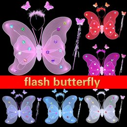 Wholesale Fast Butterfly - Wholesale- Halloween Props Sequin Luminous Double Butterfly Wings Flash Toys Butterfly Wings Party Supplies Toys Fast Shipping
