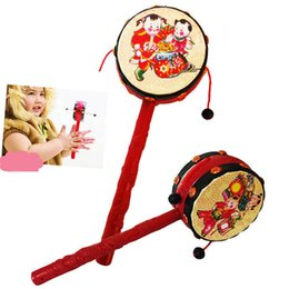 Wholesale Traditional Toys For Kids - Wholesale- Baby Kids Cartoon Hand Bell Toy Wooden Rattle Drum Musical Instrument Chinese Traditional Rattle Drum Spin Toys For Baby