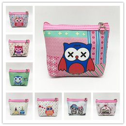 Wholesale Patchwork Owl Bags - Cute Owl mini handbag cartoon print coins bag girls pretty animal pu printing pouch