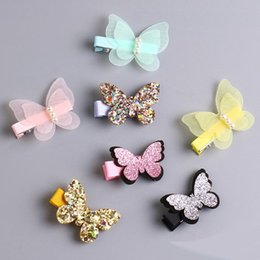 Wholesale Hair Accessories Hairpin Butterfly - 2017 Baby Girl Sequin Butterfly Hairpin Children Hair Accessories Baby Hairbows Girl Hair Bows With Clip