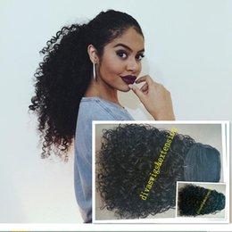 Wholesale Brown Real Human Hair Extensions - New arrival kinky curly Ponytail Hair Extension real Human Hair drawstring Pony tail Hairpiece 100g-160g natural black 1b#
