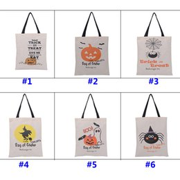 Wholesale Gift Candy Cartoon Bags - 36*46cm New Halloween Sacks Candy Gifts Bag Handbag Reusable Canvas Tote Cartoon Storage Bag Pumpkin Spider Print Shoulder Bag WX-B14