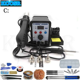 Wholesale Rework Soldering Station Digital - Saike 8586D Heat Gun Soldering Station Digital Rework Station And Soldering Iron 2 in 1 220V 110V Power Tools Electric