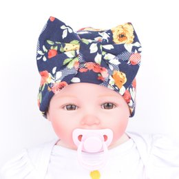 Wholesale Girl Korean Winter Hat - Korean Newborn hat Boutique Maternity Accessories Baby girl knit Hats cotton bow hats Cap florals Maternity Autumn winter 0-3months 2016