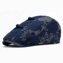 Wholesale Wholesale Gatsby Hat - 2017 New Fashion Unisex Printing Floral Chinoiserie Beret Hat Women Curved Brim Cap Chic Men Duckbill Gabble Hats Gatsby Caps