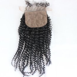Wholesale Base Top Closures - 8A Brazilian virgin hair Human Hair Curly Silk Base Closures Bleached Knots Unprocessed Hair Silk closure Products silk top sillk closure