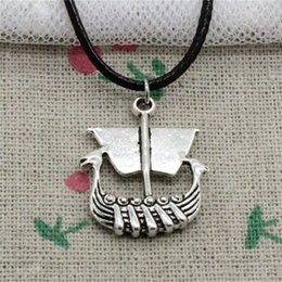 Wholesale Boat Slides - 15pcs New Fashion Antique Silver Charms viking ship boat 26*21mm Pendant Necklace Black Leather Cord Hand made Jewlery Necklace