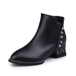Wholesale Trend Women Winter Boots - Martin boots new fund 2017 autumn winters Europe and the female boots pointed rivet elastic short boots shoes thick with trend