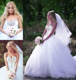Wholesale Gold Private - 2017 New Arrival Plus Size Luxury Crystal Puffy Wedding Dresses Princess Private Custom Cheap White High Quality Sweetheart Skirt Bridal Gow