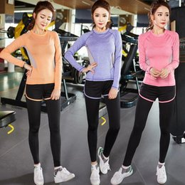 Wholesale Running Clothing Jacket - New winter sports stretch thin spell color Long sleeves yoga clothes running fitness yoga pants suit jacket