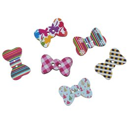 Wholesale Christams Decorations - Random Mixed Christams Bow Shape Wooden Sewing Button With 2 Holes Buttons 25x16mm For Doll Decorations Crafts Pack Of 50pcs I533L
