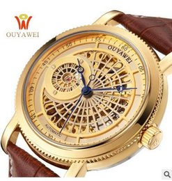 Ouyawei relógios automático de aço inoxidável on-line-OUYAWEI OURO Mecânico Pulso Mens Watch Top Marca de Luxo Relógio Automático Homens de Aço Inoxidável 22mm Esqueleto Reloj Hombre