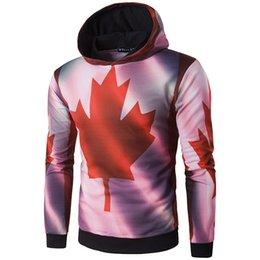 Wholesale Mens Jackets Canada - Men Hooded Jacket Coat Mens Hoodie with Canada Flag 3D Print New Arrive WT238