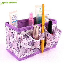 Wholesale Makeup Organiser Box - Wholesale- Auhwone Best Gift Wholesale Makeup Cosmetic Storage Box Bag Bright Organiser Foldable Stationary Container Jan19