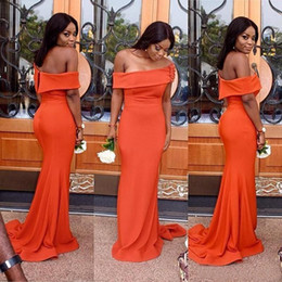 Wholesale Oblique Zipper Long Dress - Modest 2017 Orange Chiffon Oblique Off The Shoulder Mermaid Bridesmaid Dresses Long Cheap Hand Made Flowers Maid Of Honor Gowns EN5243