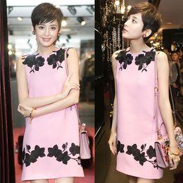 Wholesale Pink Sundress L - UK 2017 Summer Newest Pink Embroidery Sleeveless Mini Dress High Fashion Tank Sundress Female Vestidos