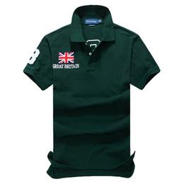 Wholesale Ralph Polo Xxl - High quality 2017 summer fashion Flag embroidery Polo shirts Men's Short Sleeve botton Polo shirt cotton shirt 4 Colors Size S-XXL