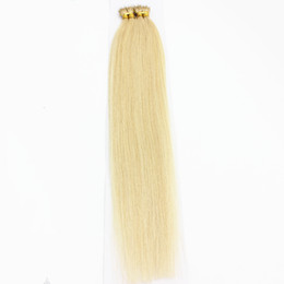 Wholesale Micro Nano Rings - 100 beads Undetectable Lightest Blonde 1g strand #60 Brazilian Virgin Human Hair Micro Nano Ring Hair Extensions