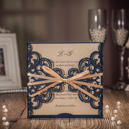 Wholesale Blue Wedding Invitation Cards - 2018 New Wedding Invitations Cards Unique Blue Laser Cut with Brown Bowknot Flat Card for Party supplies