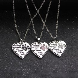 Wholesale Dog Chain Long - 2017NEWNo Longer By My Side Forever In My Heart Handstamped Dog Print Paw Claw Crystal Heart Shaped Pendant Necklace Dog Lovers jewelry