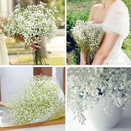 Wholesale White Gypsophila Flowers - Elegant White Gypsophila Baby's Breath Artificial Fake Silk Flowers Bridal Bridesmaid Holding Flowers Bouquet Plant for Home Decor Ornament