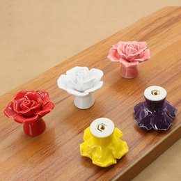 Wholesale Flower Cabinet Pulls - High Quality Creative Door Drawer Cupboard Cabinet Pull Handle Rose Flower Knob Ceramic With Screws Free Shippin