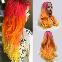 Wholesale Yellow Lace Wig - Handmade Long Wavy Ombre Lace Front Wig Glueless Pink Orange Yellow Silk Heat Resistant Synthetic Hair Wigs For Black Women