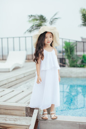 Wholesale Solid Maxi Dresses Wholesale - 2017 Baby Girls Chiffon Maxi Dresses Kids Girls Fashion Beach Dress Babies Summer Singlet Dress Childrens Clothing