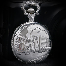 Wholesale Women Antique Pocket Watches - Wholesale-Antique Retro Silver Car Truck Pattern Quartz Pocket Watch Necklace Pendant With Chain Men Women Gift Relogio De Bolso P457